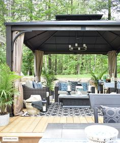 Our backyard patio reveal is perfect for entertaining! An outdoor oasis with 3 zones for lounging, dining and conversation makes the ideal backyard retreat! Outdoor Gazebos, Backyard Gazebo, Backyard Retreat, Small Gazebo, Backyard Pavers, Hillside Landscaping, Small Patio, Landscaping Ideas, Outdoor Gardens