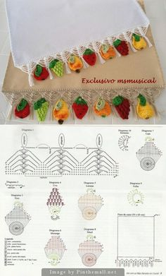 """Charming #Crochet #edging with fruit! So pretty for summer linens.These little fruit motifs would also be adorable for children's clothing or to trim a summer hat."" comment via #KnittingGuru"