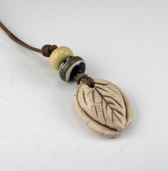 Tea Leaf necklace clay ceramic handmade jewelry by GrowingEdgeArts,