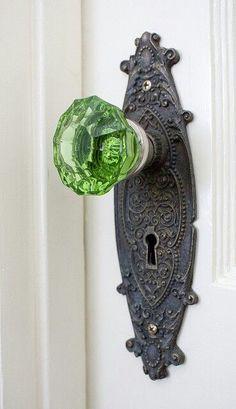 Green Glass Door Knob- vintage style from the Door Knobs And Knockers, Glass Door Knobs, Knobs And Handles, Antique Door Knobs, Door Handles Vintage, Diy Door Knobs, Crystal Door Knobs, Drawer Knobs, The Doors