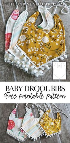 Check out this free tutorial for these baby drool bibs. It comes with a FREE PDF printable pattern and also a FREE SVG cut file! This way you can print and cut the pattern by hand or simply load the pattern onto your cutting machine. projects for baby Baby Sewing Projects, Sewing For Kids, Baby Sewing Tutorials, Sewing To Sell, Sewing Tips, Sewing Ideas, Sewing Crafts, Baby Clothes Patterns, Sewing Patterns Free