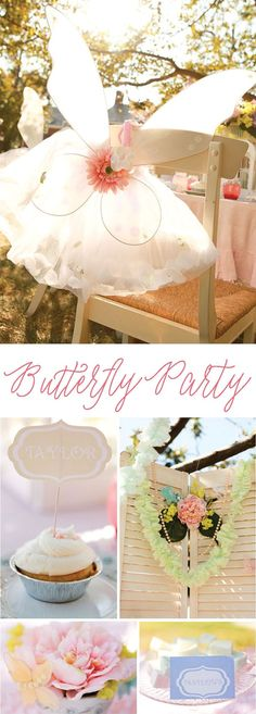 A charming Vintage Butterfly Tea Party with ruffle garland, butterfly mobiles, butterfly printables and tea party printables. Butterfly Birthday Party, Girl Birthday, Birthday Parties, Birthday Ideas, Diy Butterfly, Vintage Butterfly, Tea Party Table, Diy Party, Party Ideas