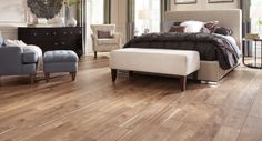 Mannington Sawmill Hickory Natural laminate. Featuring a subtle, hand-scraped texture, along with knots and sawmarks, Sawmill Hickory has lots of the realistic character found in wood. The natural beauty of an authentic rustic hickory is wonderfully replicated with the handsome floor.