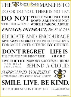 The BizzeBee Manifesto! #thoughts #words #positive