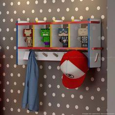 Conjunto para Quarto Infantil com 2 Estantes, Mesa, 2 Cadeiras e Cabideiro Vermelho/Branco/Amarelo/Azul - Caaza   Lojas KD