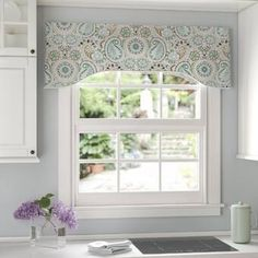 Alcott Hill Drumahaman Floral Print Lined Arched Curtain Valance Valance Window Treatments, Kitchen Window Treatments, Window Coverings, Window Valances, Wood Valance, Valences For Windows, Arched Windows, Corner Windows, Kitchen Windows