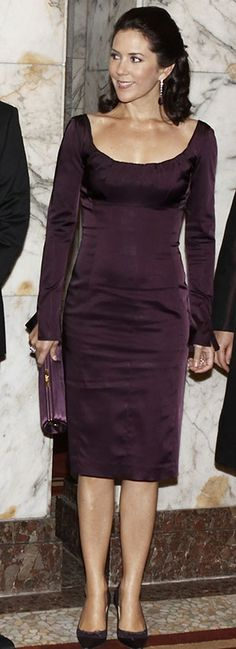 Mary of Denmark in a gorgeous plum dress. #royalty #fashion