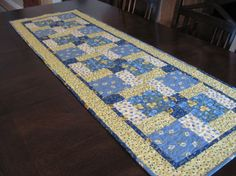 Yellow and Blue Table Runner by SnuggleMeDesigns on Etsy