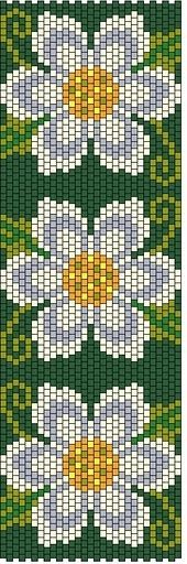 Beaded beautiful peyote flowers bracelet ... no color chart available, just use the pattern chart as your color guide.. or choose your own colors...
