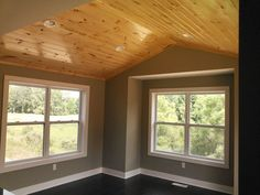 living room Dining Room with Knotty pine ceiling built by Armstrong Builders of Rockford, MI. Pine Bedroom Furniture, Patio Furniture Sets, Bedroom Decor, Knotty Pine Walls, Knotty Pine Decor, Pine Trim, Painted Wood Walls, Grey Houses, 7 Piece Dining Set
