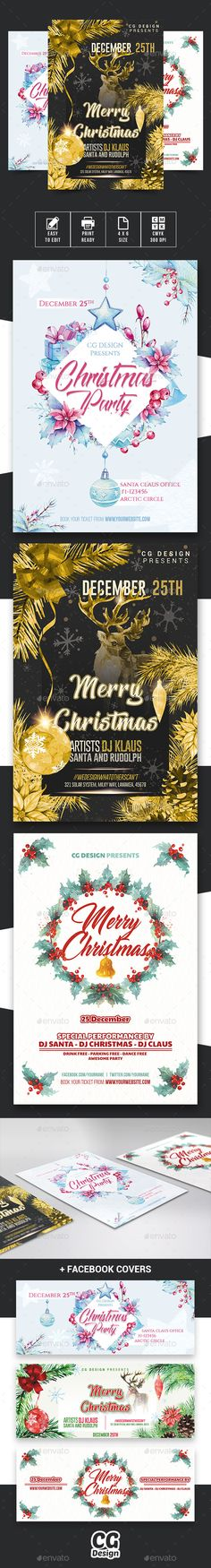 Christmas Flyers Bundle - Events Flyers Christmas Flyers Bundle – This is a bundle with all my Christmas Flyers made in 2017. They are good for all kind of projects. The only limit is your imagination! This bundle contains 3 Christmas Flyers: