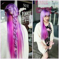 Nancy's pink and purple locks are unbelievably gorgeous! Randee created her new look for total princess hair status. (Long hair, pink and purple hair, braid, unicorn hair, mermaid hair)