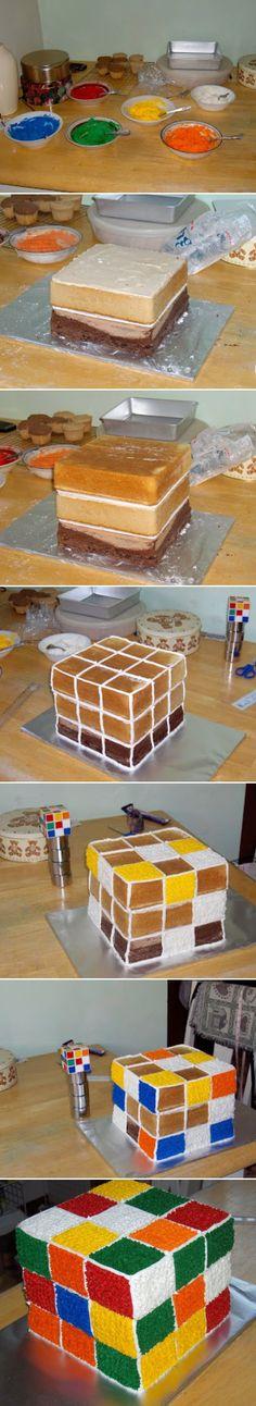 Rubik's Cube Cake - cakes, easy recipes, recipe, recipes, simple recipes