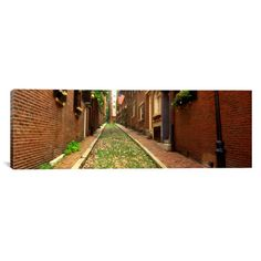 "East Urban Home Panoramic Massachusetts, Boston, Beacon Hill Photographic Print on Canvas Size: 16"" H x 48"" W x 0.75"" D"