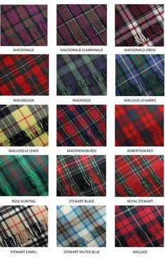Clan Tartans: MacDonald to Wallace. Seeing as I am a MacDonald, it'd be fun to figure out which I am and to get a kilt in my tartan. Tartan Plaid, Irish Tartan, Tartan Decor, Tartan Fabric, Tartan Pattern, Quilt Pattern, Scottish Tartans, Scottish Gaelic, Weaving