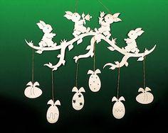 Fensterbild Ostern Zweig mit Hasen