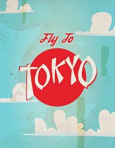 Vintage Tokyo, Japan Travel Posters Art Print
