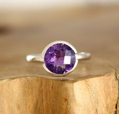 Amethyst ring in sterling silver Modern engagement ring Purple stone solitaire engagement ring February birthstone jewelry
