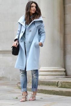 Pastel blue wool coat paired with ripped denim // Stylissm