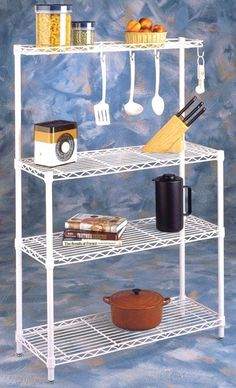 Bakers Rack with Heavy Duty White Wire Shelving *** For more information, visit image link.