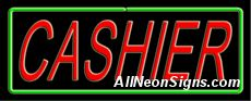 """Cashier Neon Sign-10521-5218  13"""" Wide x 32"""" Tall x 3"""" Deep  110 volt U.L. 2161 transformers  Cool, Quiet, Energy Efficient  Hardware & chain are included  6' Power cord  For indoor use only  1 Year Warranty/electrical components  1 Year Warranty/standard transformers."""