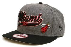 NEW ERA Miami Heat Scripter 2 9Fifty Snapback    Grey / Black / Red / White    This 9FIFTY cap features an embroidered (raised) Miami Heat script team namesake at front, a stitched New Era flag at wearer's left side, and a stitched team logo at wearer's right side. A snapback closure for an adjustable fit. Interior includes branded taping and a moisture absorbing sweatband.  New Era flag may vary in color with the image featured on site.    100% Wool.