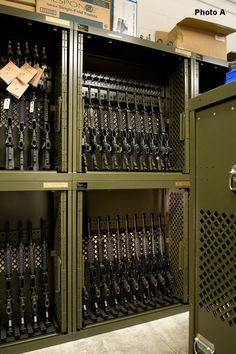 The Universal Weapons Rack maximizes space, organization, and efficiency for storing guns. The UWR is also easily transportable. | Spacesaver.com