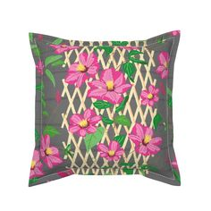 Clematis Trellis on Serama by jaanahalme | Roostery Home Decor Pillow Cover Design, Throw Pillow Covers, Throw Pillows, Clematis Trellis, Natural Texture, Basket Weaving, Pillow Inserts, Color Splash, Spoonflower