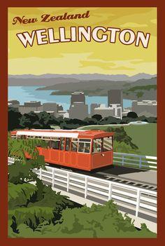 travel postcard - Wellington New Zealand Vintage Travel Poster New Zealand Art, New Zealand Travel, Retro Poster, Vintage Travel Posters, Party Vintage, Wellington New Zealand, Railway Posters, Vintage Advertisements, Travel Inspiration
