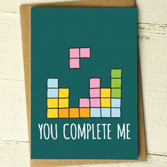 Valentines Day Card - You Complete Me - Valentine Card - Funny Love Cards - Anniversary Card - Husband Card - Geek - Tetris - Boyfriend Card by FinchandtheFallow on Etsy https://www.etsy.com/listing/210416068/valentines-day-card-you-complete-me