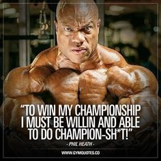 """""""To win my championship I must be willin and able to do champion-sh*t!"""" 👊  Another great quote from one of the truly great ones in the history of Bodybuilding: Phil Heath. 👊 And this applies to all of us.. If you want to achieve greatness, (whatever thay may be) you have to do great things. 👊 #gymquotes #philheath #gymmotivation #fitnessmotivation"""