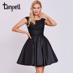 d7e6b8577fa Tanpell short homecoming dress black scoop cap sleeves above knee a line  gown cheap appliques lace graduation homecoming dresses-in Homecoming  Dresses from ...