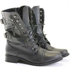 Rocio Black Military Style Boots ($29) ❤ liked on Polyvore featuring shoes, boots, botas, sapatos, military combat boots, black biker boots, lace up combat boots, laced up boots and black flat shoes