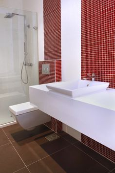 White And Brown Bathroom With Red Mosaic Tile Accents