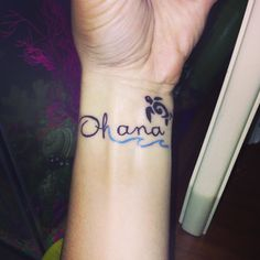 Ohana tattoo plus a blue wave and a tribal turtle very cute
