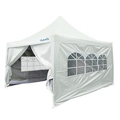 Quictent Silvox Waterproof 10x10 EZ Pop Up Canopy Commercial Gazebo Party Tent Silver Portable Pyramidroofed Style Removable Sides With Roller Bag >>> Check this awesome product by going to the link at the image.