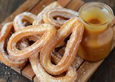 Churros with Salted Caramel Sauce via www.thenovicechefblog.com #GiveAMeal #KitchenConvo