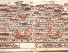 Mosaic work depicting a fishing scene in waters abounding in fish 2nd Century A.D., Tunisia, Sousse, Musee Archeologique (Archaeological Museum), Roman art