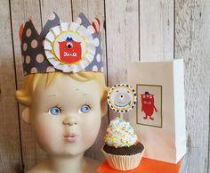 Monster birthday,Monster Party, Monster crown,Monster cupcake picks by…