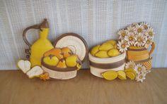 Homco Kitchen Wall Plaques Set of 2 Daisies Lemons Pears Syroco 1981 Vintage USA by LilBatsInTheAttic on Etsy