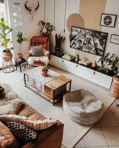 Best and stylish living room furniture design & decoration ideas 17 – fugar Boho Living Room, Home Living, Apartment Living, Modern Living, Bohemian Living, Small Living, Bohemian Homes, Boho Room, Minimalist Living