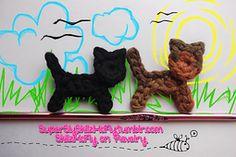 Crochet Cat Applique free pattern.