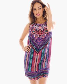 """Printed to create an embroidered illusion, this silk swim cover-up gives tribal detail a new level of luxe.   Back keyhole neckline with a button closure.  Length: 35"""".  Silk.  Hand wash. Imported.   Free shipping and returns on all full-priced swim orders shipped to the U.S."""