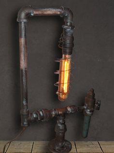 Vintage Industrial Table Lamp Industrial Lights by StudioFive55, $195.00