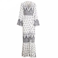 Simplee Boho floral print chiffon split long dress