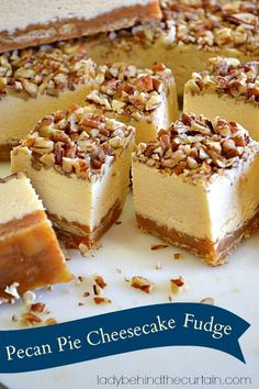 Pecan Pie Cheesecake Fudge Recipe ~ Says:  a salty crunchy crust made with saltines.  Then a layer of pecan pie filling and if that's not enough a cheesecake fudge on top sprinkled with chopped pecans... it is insane! Pecan Recipes, Fudge Recipes, Candy Recipes, Sweet Recipes, Cookbook Recipes, Cooking Recipes, Pecan Pie Cheesecake, Cheesecake Recipes, Praline Fudge Recipe