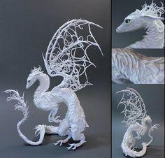 CUSTOM ORDER - White Dragon (medium). $165.00, via Etsy. Water Dragon, Dragon Art, Clay Dragon, Here Be Dragons, Mythical Creatures, Fantasy Creatures, Reptiles, Ellen Jewett, Sculpting