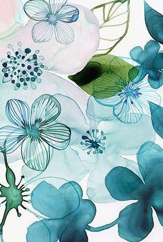 Green and blue garden<br> Watercolour Painting, Watercolor Flowers, Pretty Wallpapers, Art Inspo, Wallpaper Backgrounds, Flower Art, Illustration Art, Drawings, Artwork