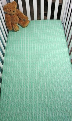 Turquoise Herringbone Fitted Crib Sheet / Gender by PandaHugStore
