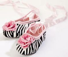 Baby Shoes - Trendy and Stylish Baby Shoes  Pink Zebra Ballet Slippers with Ribbon Rose LollipopMoon.com only $36.00 - Baby Shoes
